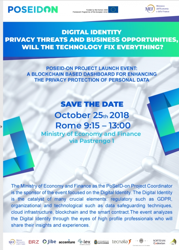 Digital identity, privacy and business opportunity - PoSeID-on Project launch event