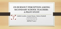 On burnout perception among secondary school teachers: a pilot study
