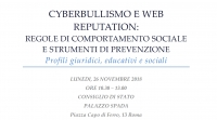 Cyberbullismo e web reputation, Roma 26 novembre 2018