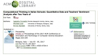 "Computational Thinking in Italian Schools: Quantitative Data and Teachers' Sentiment Analysis after Two Years of ""Programma il Futuro"" Project"